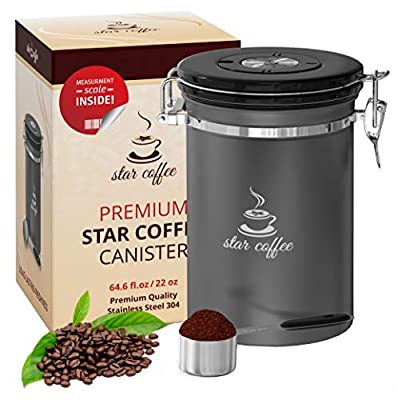 Star Coffee Container Airtight Coffee Storage - Stainless Steel Canister with Scoop for Beans and Ground Coffee, With 5 Co2 Valve and Freshness Calendar Plus eBook, Large Coffee Holder, 22oz