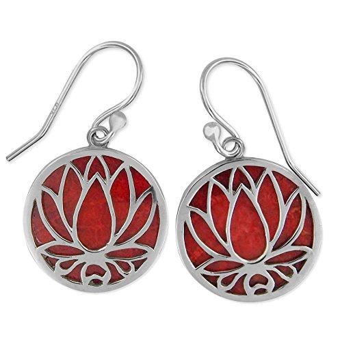 Sterling Silver Red Sponge Coral Circle Lotus Dangle Earrings