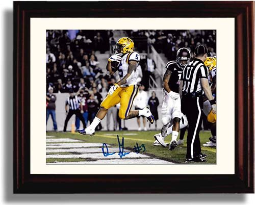 Framed Derrius Guice Framed Autograph Replica Print - LSU Tigers