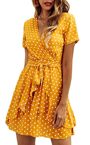 ECOWISH Women's V Neck Polka Dot Ruffles Mini Sexy Dress Short Sleeve Wrap Summer Dresses with Belt Yellow X-Large ()