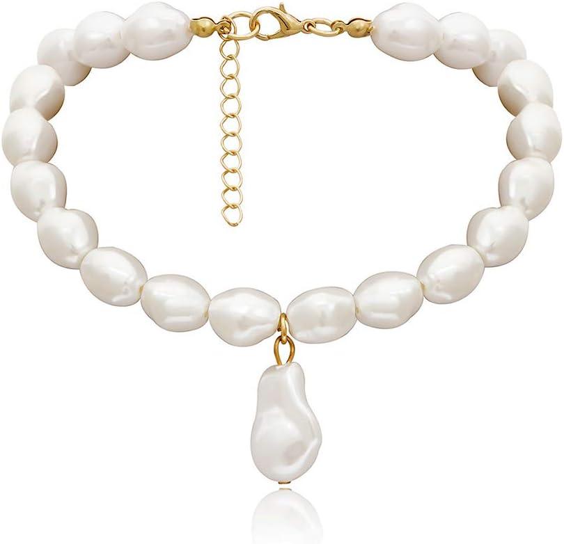 NICEWL Barroco Falso Perla Colgantes Mujer Gargantilla de Las Mujeres,Forma Irregular Artificial Perlas de Una Sola Capa Collar,Moda Clavicle Cadena Decoración del Traje