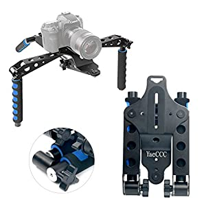 YaeCCC Aluminium Alloy Foldable DSLR Rig Movie Kit Film Making System Shoulder Mount Support Rig Stabilizer for Canon Nikon Sony Fujifilm Olympus Digital SLR Cameras and Camcorders