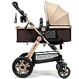 Pram Newborn Carriage Infant Travel Car Foldable Pram Baby Stroller Pushchair (Golden)