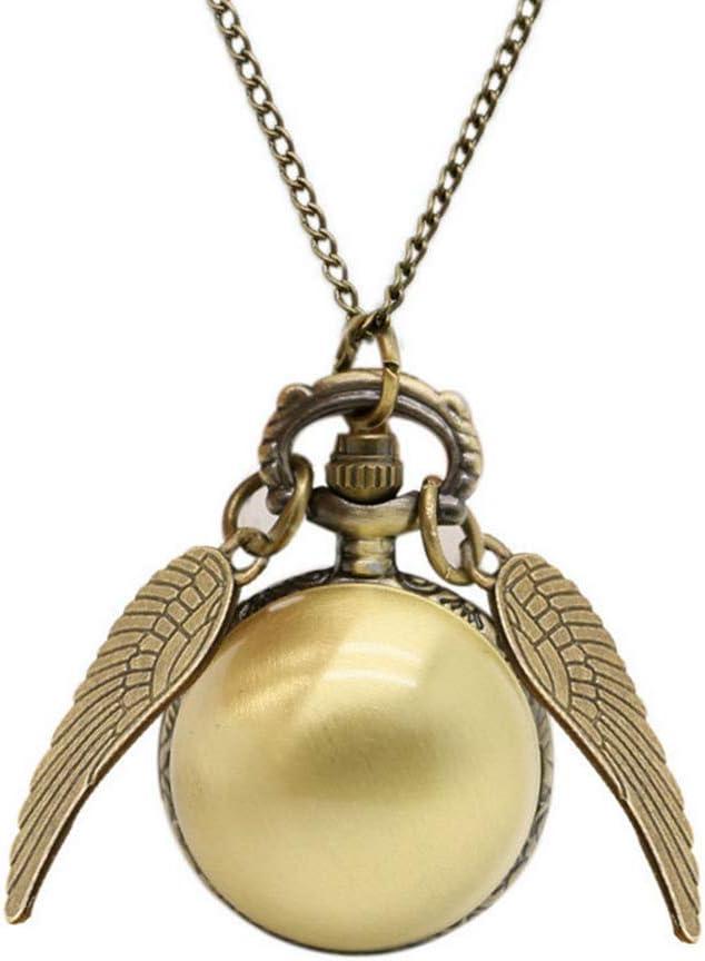 Wilk Regalo del Reloj de Bolsillo Antiguo Alas Ball Snitch Relojes de Bolsillo de Cuarzo Movimiento Colgante