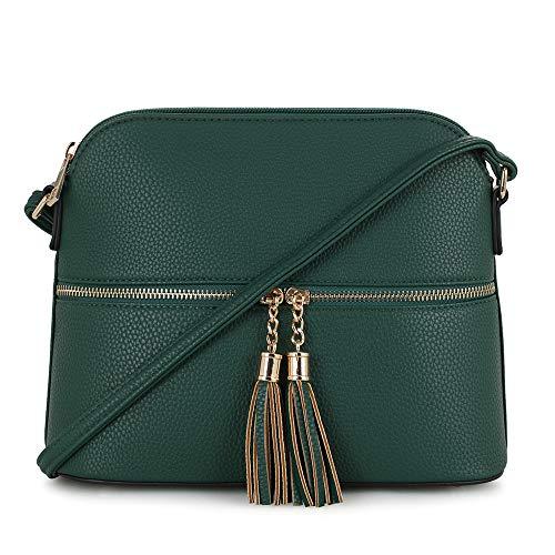 SG SUGU Lightweight Medium Dome Crossbody Bag with Tassel | Zipper Pocket | Adjustable Strap (Hunter ()