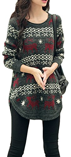 Long Snowflake and Reindeer Pullover - Black, Grey or Navy
