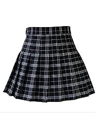 Women Casual Plaid Skirt Girls High Waist Pleated Skirt A-line School Skirt Uniform With Inner Shorts