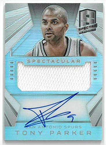 - Tony Parker signed San Antonio Spurs 2014-15 Panini Spectra Prism Game Used Jersey Basketball Card #SS-TP- LTD 29/35 - Panini Certified