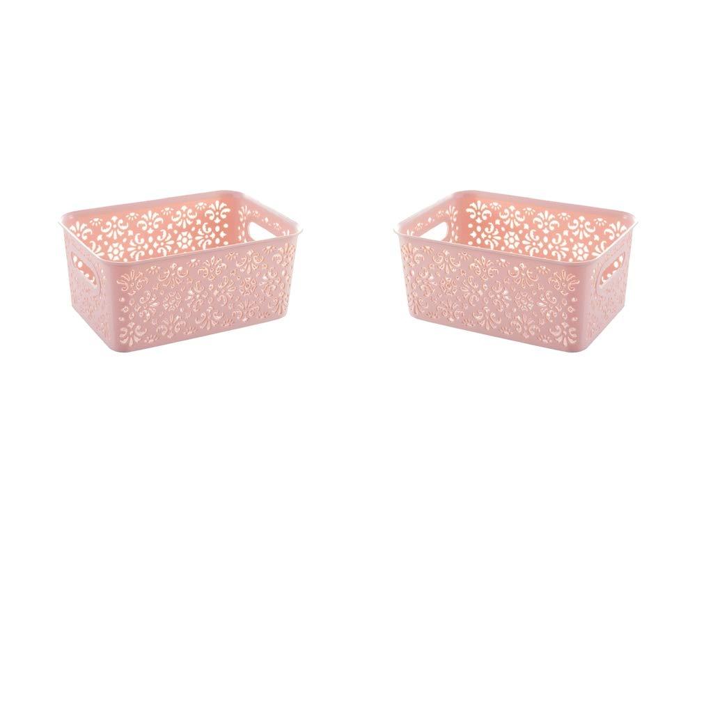 kesoto 2Pcs Storage Box Decorative Closet Cabinet and Shelf Basket Organizer Pink Small with Lid