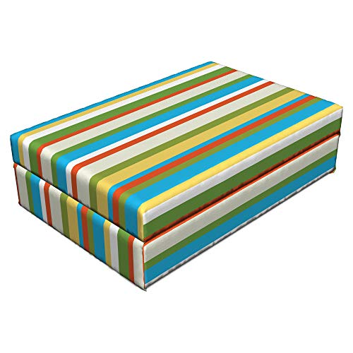 Lunarable Striped Pet Bed, Funky Vibrant Spring Color Vertical Lines Contemporary Kitsch Art Pattern Image, Animal Mat Foam and Stylish Printed Cover, 24