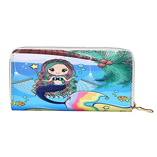 - Kukoo Women's Printed Zip Around Wallet Phone Clutch Purse Card Holder Organizer (Mermaid - D)