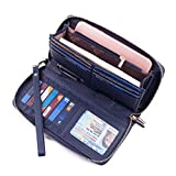 Bricraft Women RFID Blocking Wallet Leather Wristlet Organizer Zip Around Clutch Dark Blue