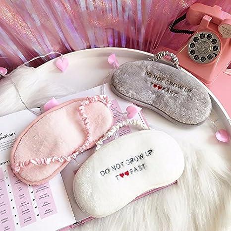 8cm Masques pour Le Sommeil Confortables et Pratiques pour Les Filles et Les Dames 18 Lumanuby 1x Masque pour Les Yeux en Peluche en Forme de Lettre brod/ée