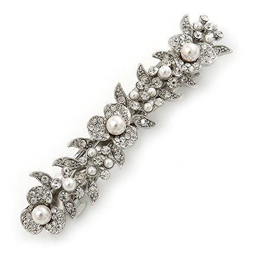 Avalaya Bridal Wedding Prom Silver Tone Glass Pearl,