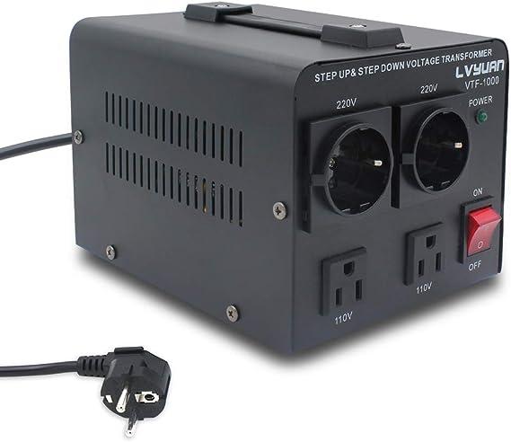 Transformador Elevador//Reductor de Voltaje de 1000 Vatios EE.UU Yinleader VTF-1000 220V // 110V 1000W Estabilizador de Voltaje autom/ático - Convertidor de Energ/ía de 220 Voltios