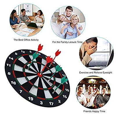 Portzon Dart Board, 16.4 Inch with 6 Rubber Safety Tip Darts Dartboard Game Set, Office Relaxing Sport & Family Leisure Time : Sports & Outdoors