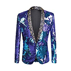 Double Color Conversion Sequin Slim Fit Blazer
