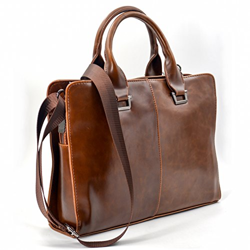 JinDiLong Mens Leather Briefcase Laptop Bag Shoulder Messenger bag(Brown) (Leather Man Bag)