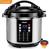 Mueller 9-in1 Pro Series 18 Smart Program Pressure Cooker | German ThermaV Even Heat Technology | 6Q/1000W Slow Cooker | Rice Cooker, Yogurt Maker,...