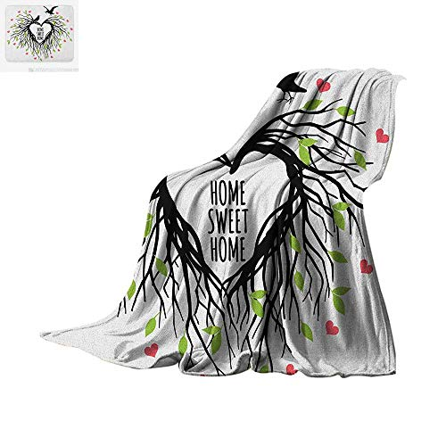 "Tree of Life Throw Blanket Heart Shaped Bird Nest Sweet Home Quote Hope Family Partners in Nature Print Artwork Image 90""x70"" Black Green Pink"