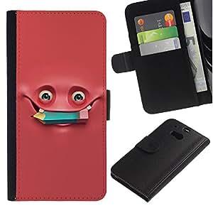 For HTC One M8,S-type® Pink Monster Pencil Studying - Dibujo PU billetera de cuero Funda Case Caso de la piel de la bolsa protectora