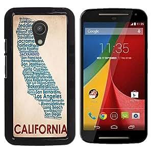 - California Funny - - Monedero pared Design Premium cuero del tir¨®n magn¨¦tico delgado del caso de la cubierta pata de ca FOR Motorola Moto G 2 nd Gen Funny House