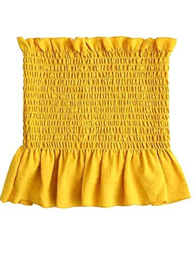 Trim Tube Top - KAMISSY Women's Frill Smoked Crop Tank Top Bandeau Tube Top Vest Yellow