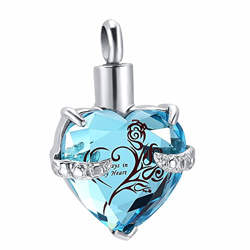 constantlife Always In My heart Stainless Steel and Crystal Memorial Urn Pendant Necklace Cremation Jewelry