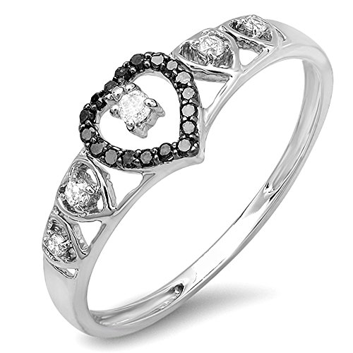 - Dazzlingrock Collection 0.15 Carat (ctw) 10K Black & White Diamond Ladies Bridal Wave Heart Promise Ring, White Gold, Size 8
