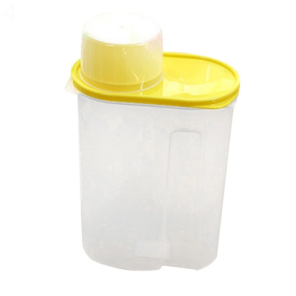 Arroz Granos de cereales dispensador de almacenamiento de alimentos secos contenedor tapa caja sellada 1,9/2,5 L, plástico, Amarillo, 1,9 l: Amazon.es: ...