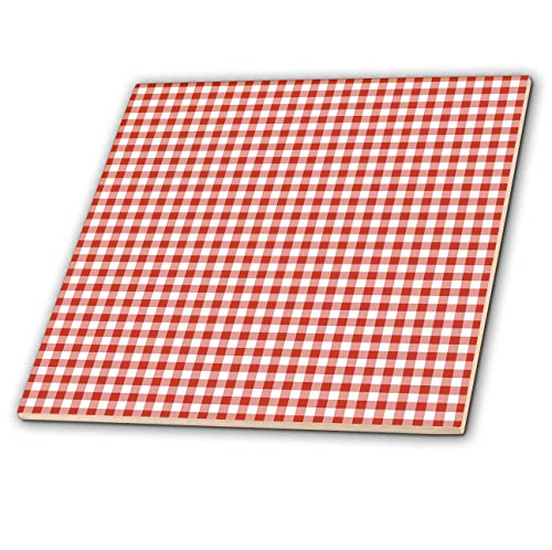 3dRose PS Abstract - Red and White Gingham - 4 Inch Ceramic Tile (ct_201472_1)