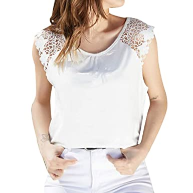 860398fcc Amazon.com: Womens Tank Tops, ALOVEMO Women's Casual Lace Sleeveless T  Shirts Lose Tank Tops: Clothing