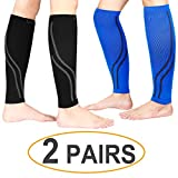 Udaily Calf Compression Sleeves (2 Pairs), Calf Support Leg Compression Socks for Shin Splint & Calf Pain Relief, Sports Running Recovery (Large/X-Large, Black & Blue)