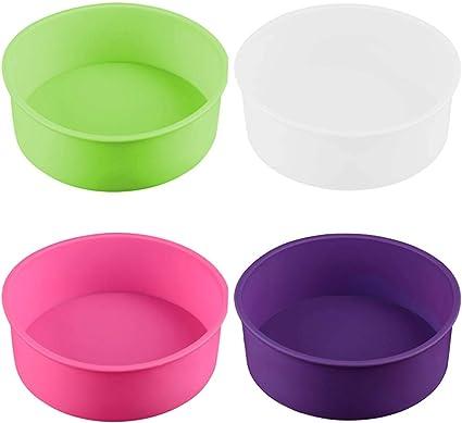 Oferta amazon: 4 moldes redondos de silicona para hornear pasteles, moldes de repostería, molde de 15,2 cm (blanco/rojo/morado/rosa