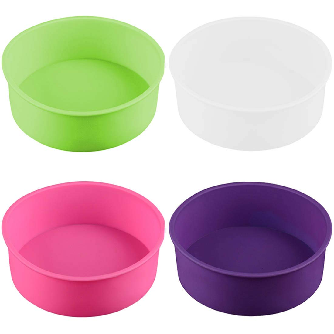 4PCS Round Cake Pan Silicone Baking Molds Cake Mould for Baking 6''(White/red/Purple/Pink) by SIMUR