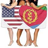 Unisex Eritrea USA Flag Twin Heart Over-Sized Cotton Bath Beach Travel Towels 31x51 Inch