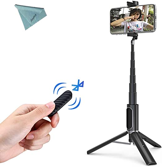 ULANZI SK-02 Selfie Stick Extensible y tr/ípode Selfie Stick con Control Remoto inal/ámbrico para iPhone Samsung Google Smartphones
