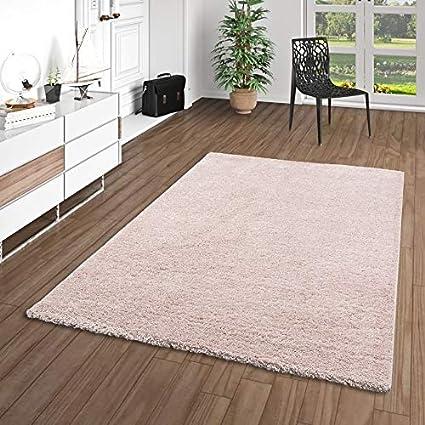 Hochflor Shaggy Teppich Langflor Gemütlich Weich Modern Uni Orange 120x180cm