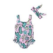 ITFABS Newborn Baby Girl Cactus Swimsuit Ruffles Bathing Suit Bikini Floral Swimwear with Headband for Baby Girls Beach Wear (Pink, 80(6-12 M))