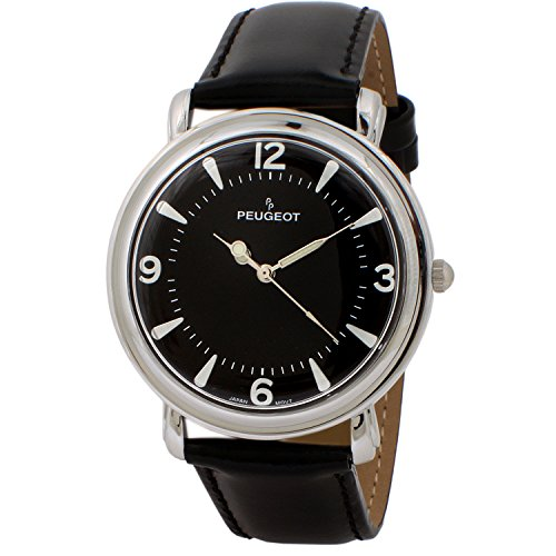 Peugeot Men's 'Slim Case Dome' Quartz Metal and Leather Dress Watch, Color:Black (Model: 2060BK)