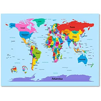 Amazon world map canvas wall art for kids room typical animals trademark fine art childrens world map by michael tompsett work 22 by 32 inch canvas wall art gumiabroncs Choice Image