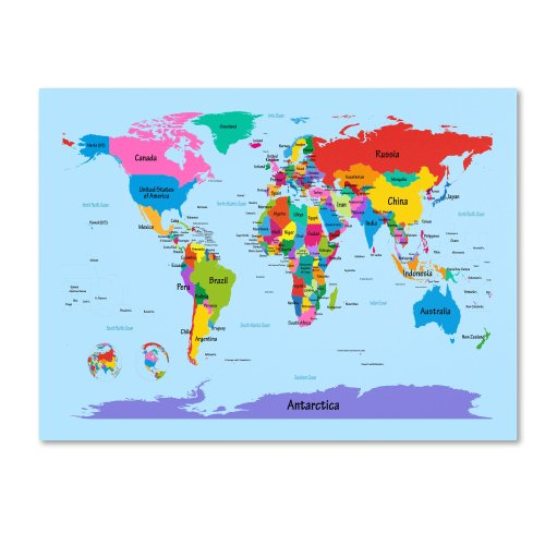 Childrens World Map by Michael Tompsett work, 16 by 24-Inch Canvas Wall Art (Maps Word)