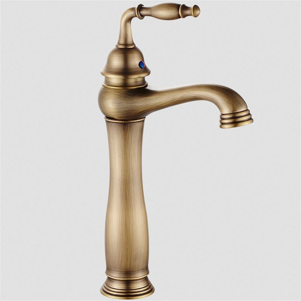 JIAJU Antique hot and Cold Basin Faucet Bathroom Copper Single Handle European Retro Sink Faucet (Royal Style)