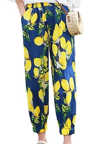 chino Blue floreali blu cotone unica in donna taglia da Pantaloni YFLTZ wRqx75vYx