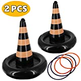 heytech 2 Pack Inflatable Witch Hat Ring Toss Game Halloween Games for Kids Wearable or Placement(2 Hats & 4 Rings ) (Witch hat)