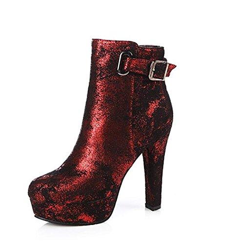 ZQ@QX El otoño y el invierno y elegante cremallera lateral oeste gruesa cabeza redonda con los zapatos de tacón alto, botas botas hembra red