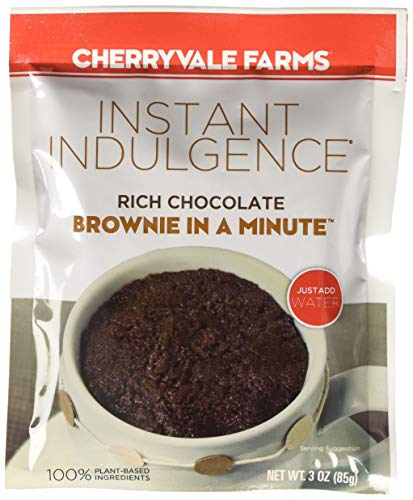 Cherryvale Farms Instant Indulgence Mug Cake Mix, Chocolate Brownie, Microwave Dessert, Vegan, GMO-Free (6 single serve pouches)