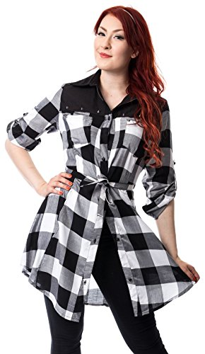 Kariert EMILY Clothing DRESS Heartless Weiß Kleid qxgX1gfw