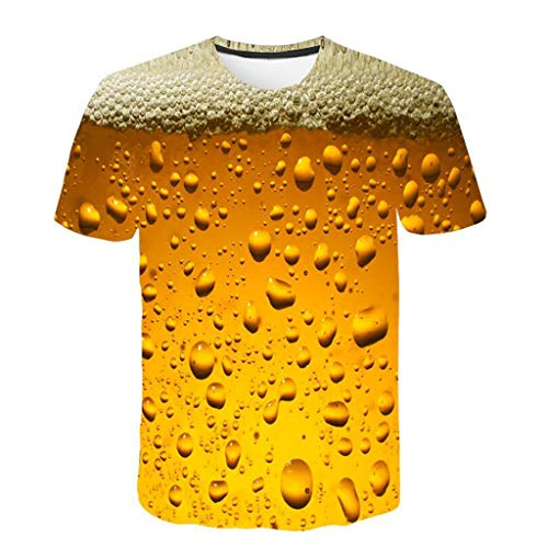 12 Ounce Pullover - Mysky Fashion Men Summer 7D Beer Flood Printed Pullover T-Shirt Male Casual Brief Short Sleeve Top Blouse Yellow