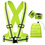 Reflective Vest Cycling Gear with Safety Reflector Strips Bands for Arm/Wrist / Ankle | Lightweight, Adjustable & Elastic | Safety & High Visibility for Running, Jogging, Walking